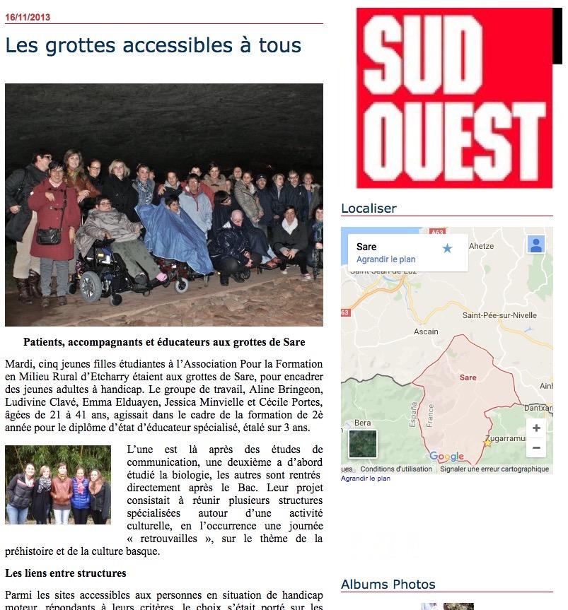 Articles Sud Ouest : Les grottes de Sare, accessible à tous